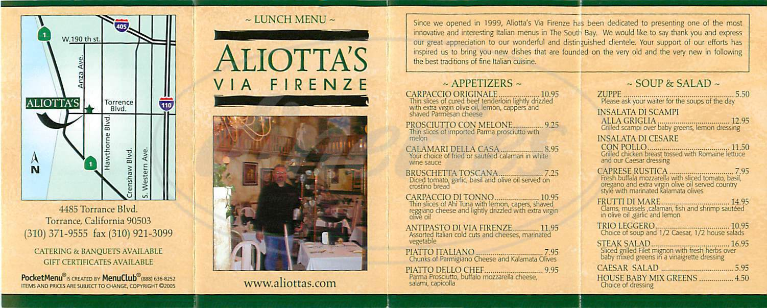 menu for Via Firenze
