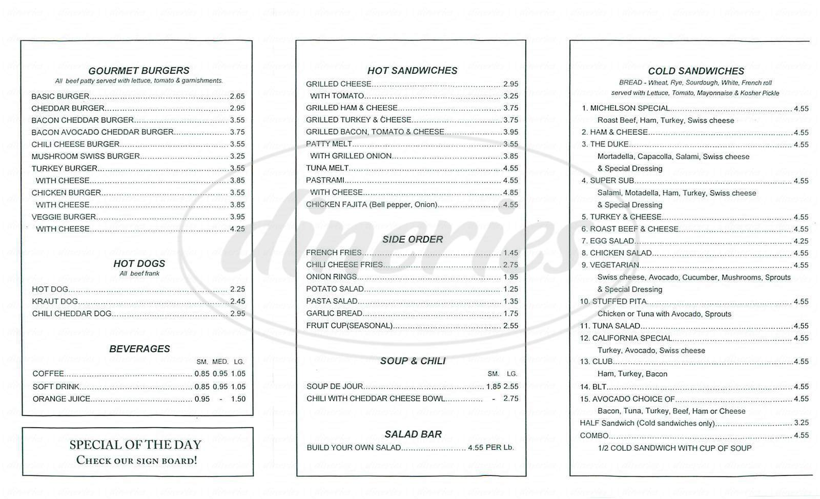 menu for Michelson Café