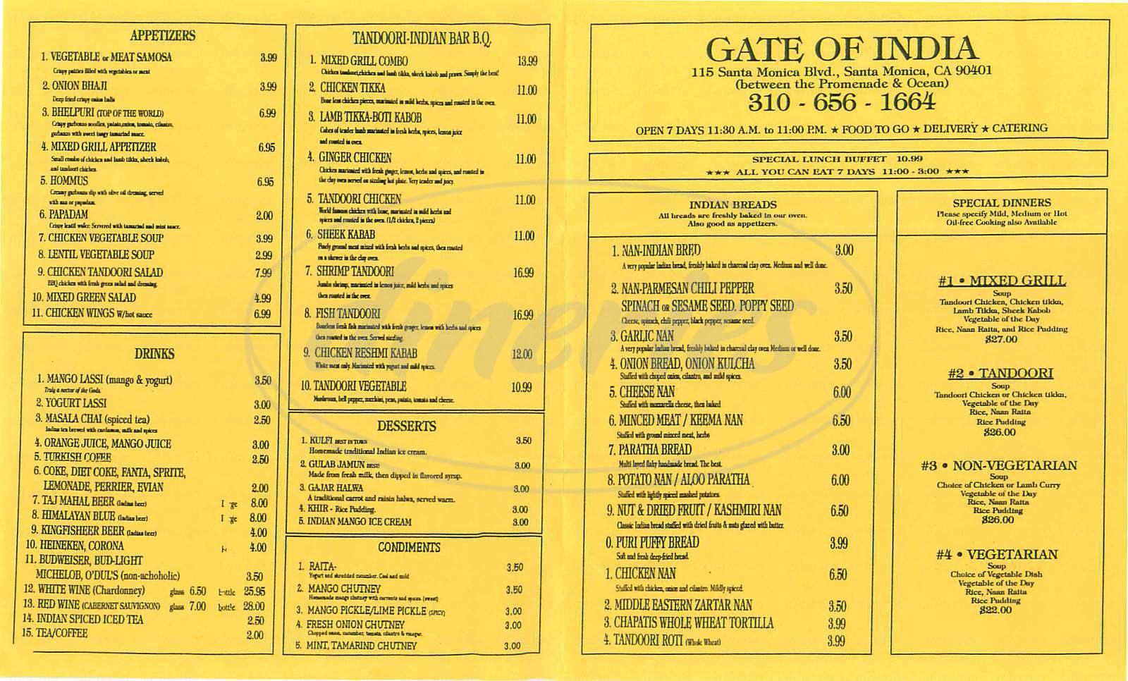 menu for Gate of India