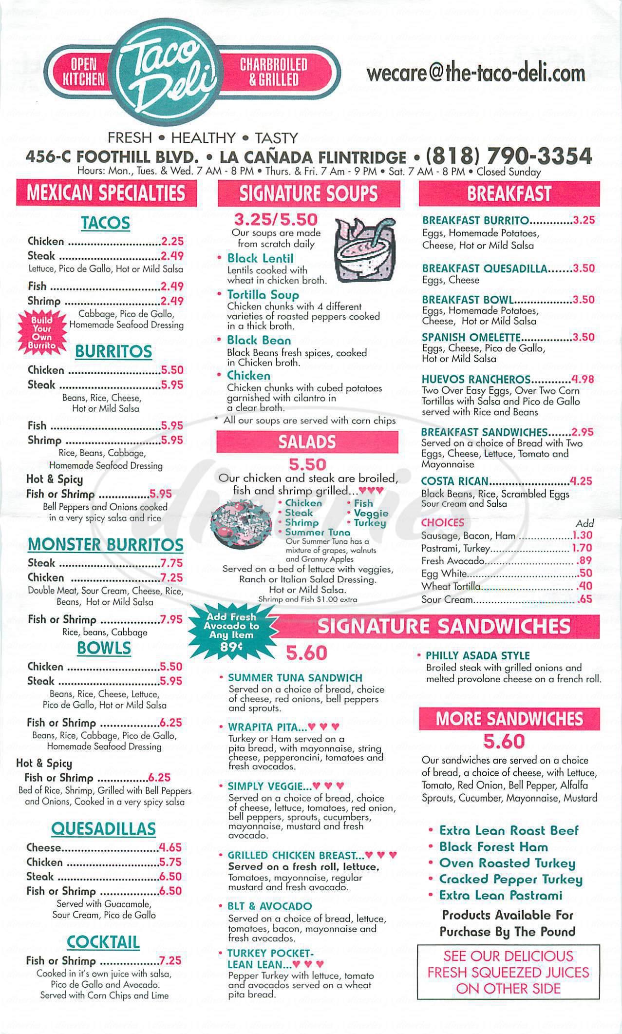 menu for Taco Deli