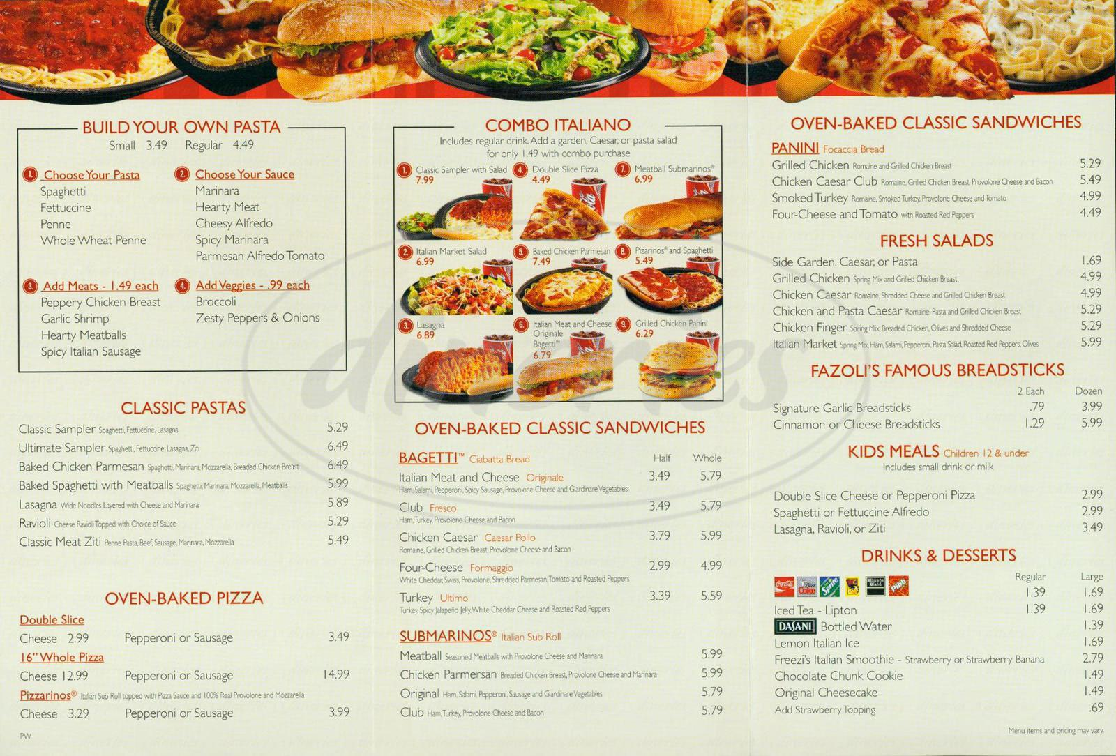 menu for Fazoli's