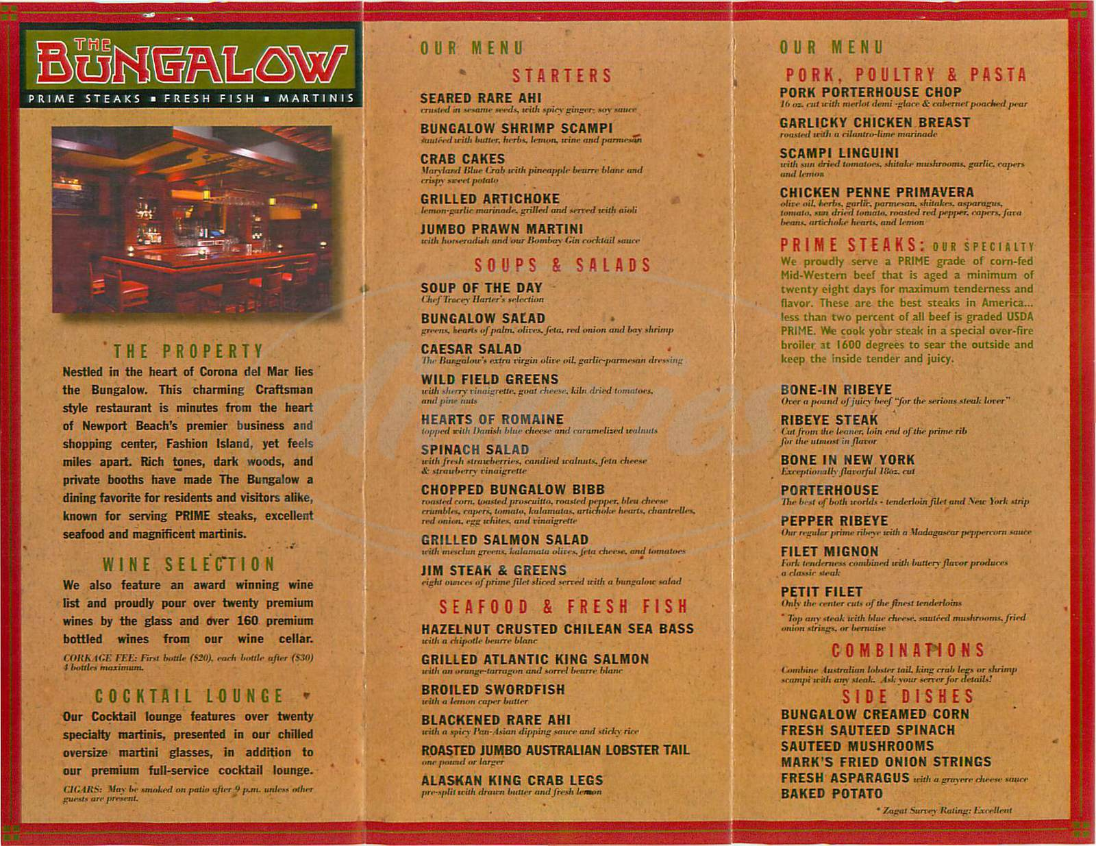 menu for The Bungalow Restaurant