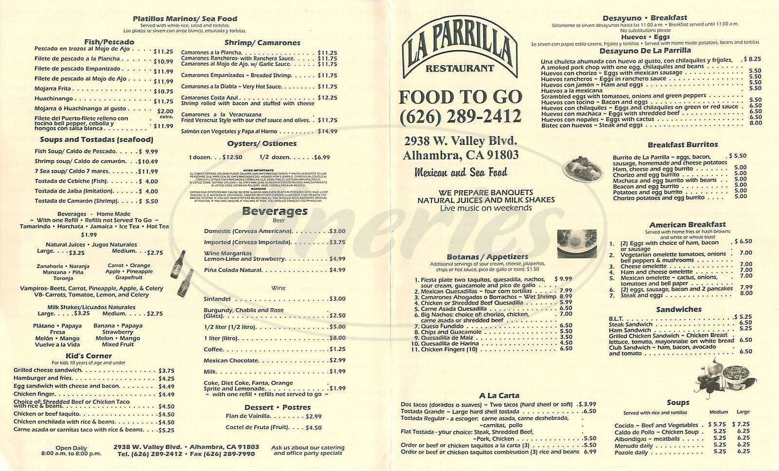 menu for La Parrilla
