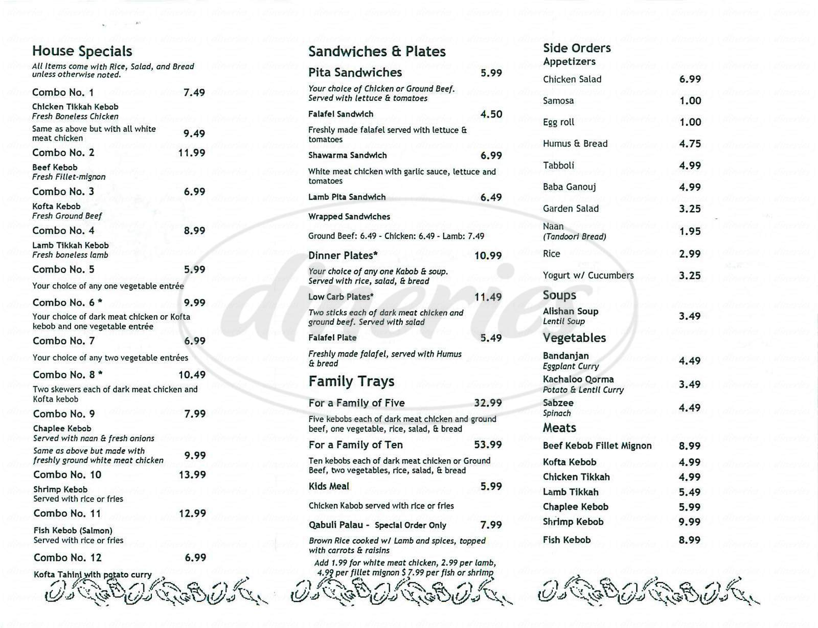 menu for Alishan Kebob