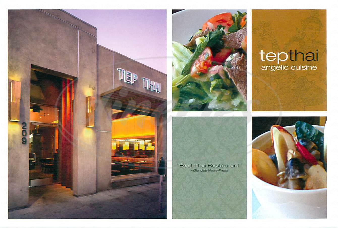 menu for Tep Thai