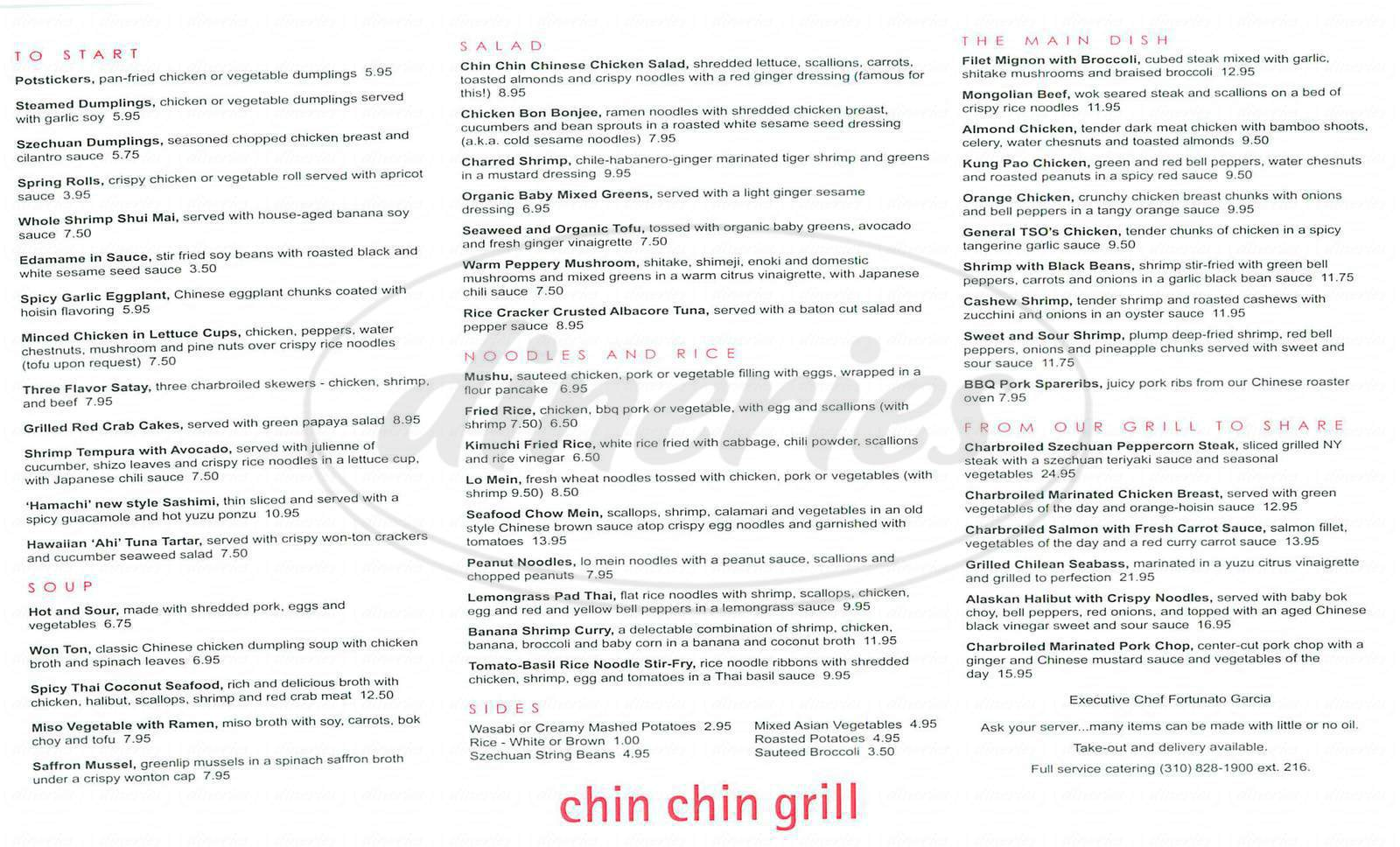 menu for Chin Chin Grill