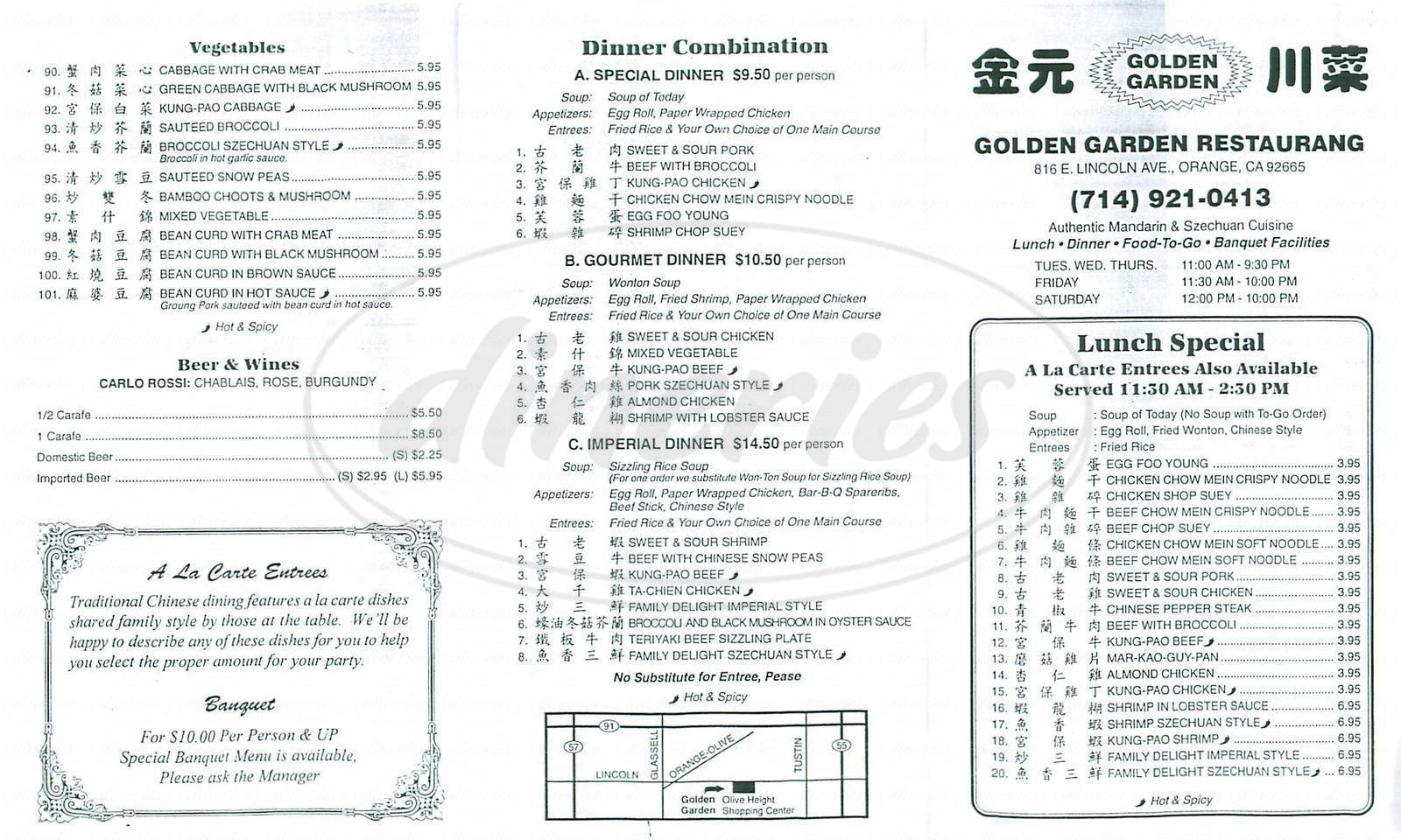 menu for Golden Garden Restaurant