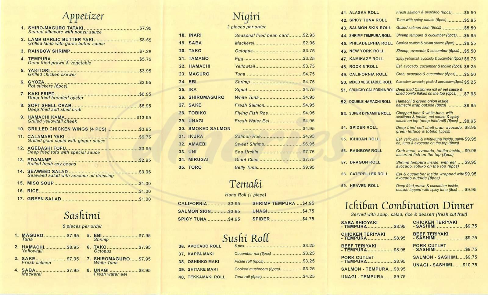 menu for Ichiban Sushi