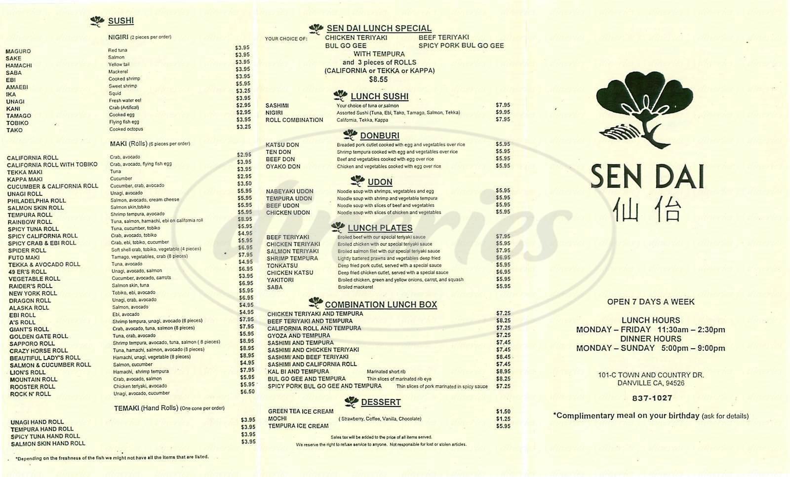 menu for Sen Dai
