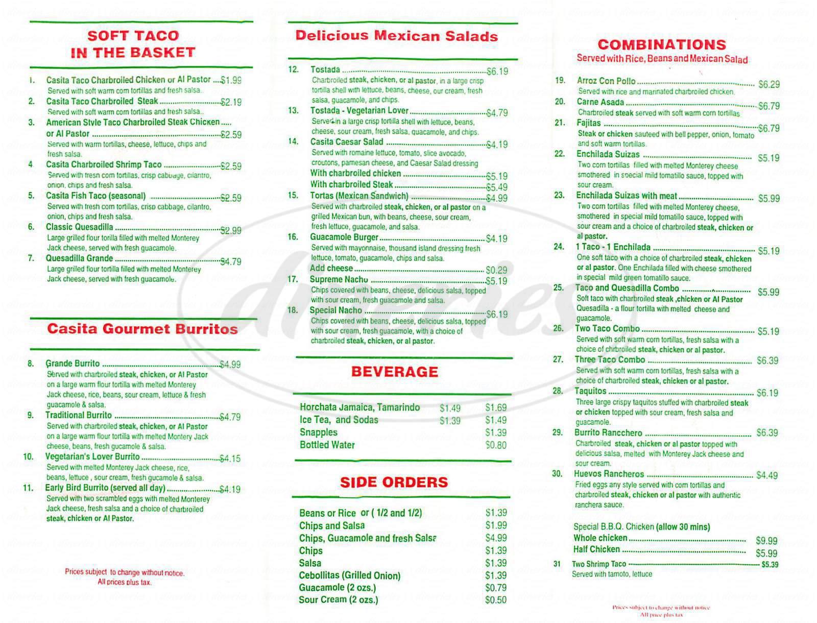 menu for Casita Taco Mexican Grill