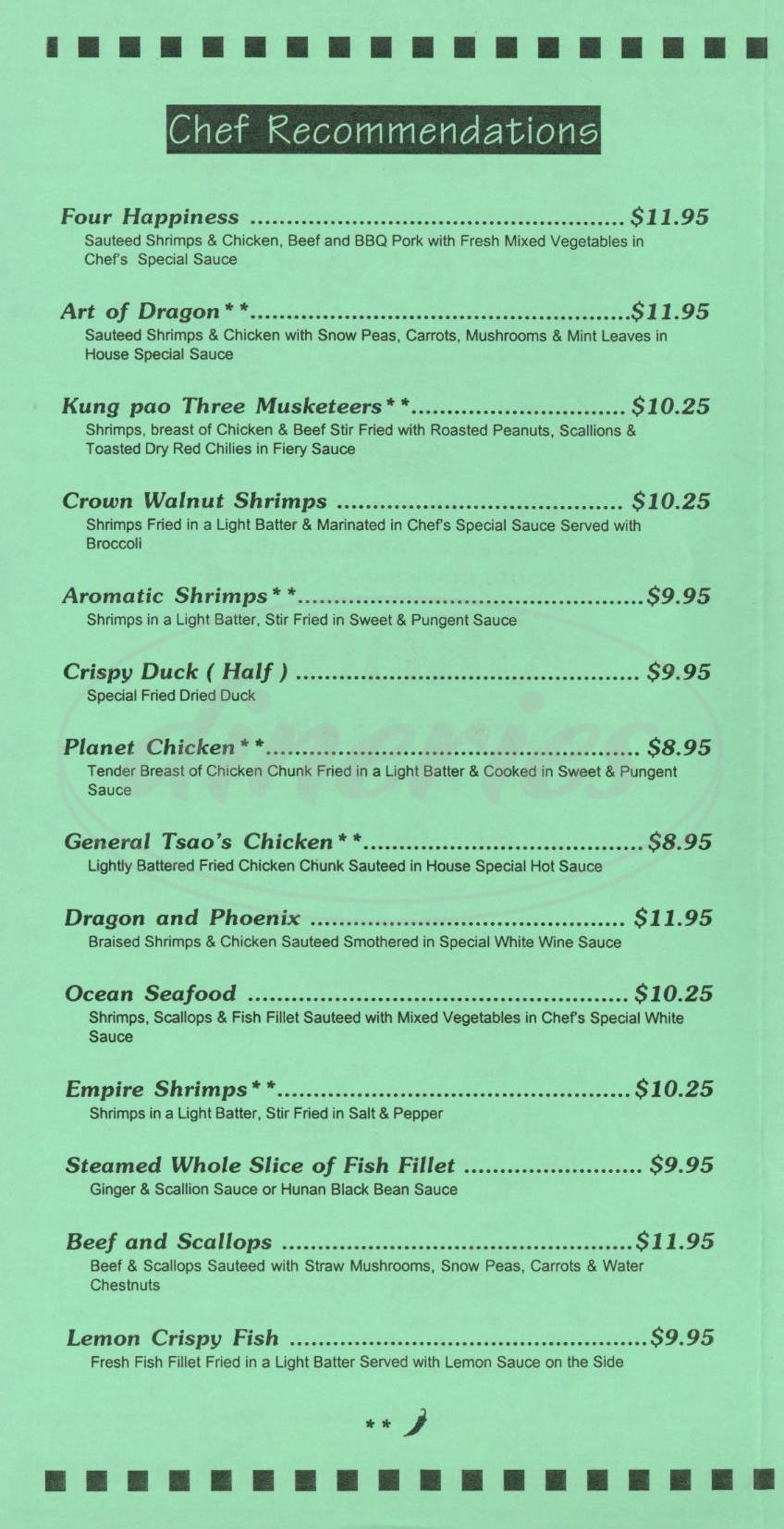 menu for Century Dragon