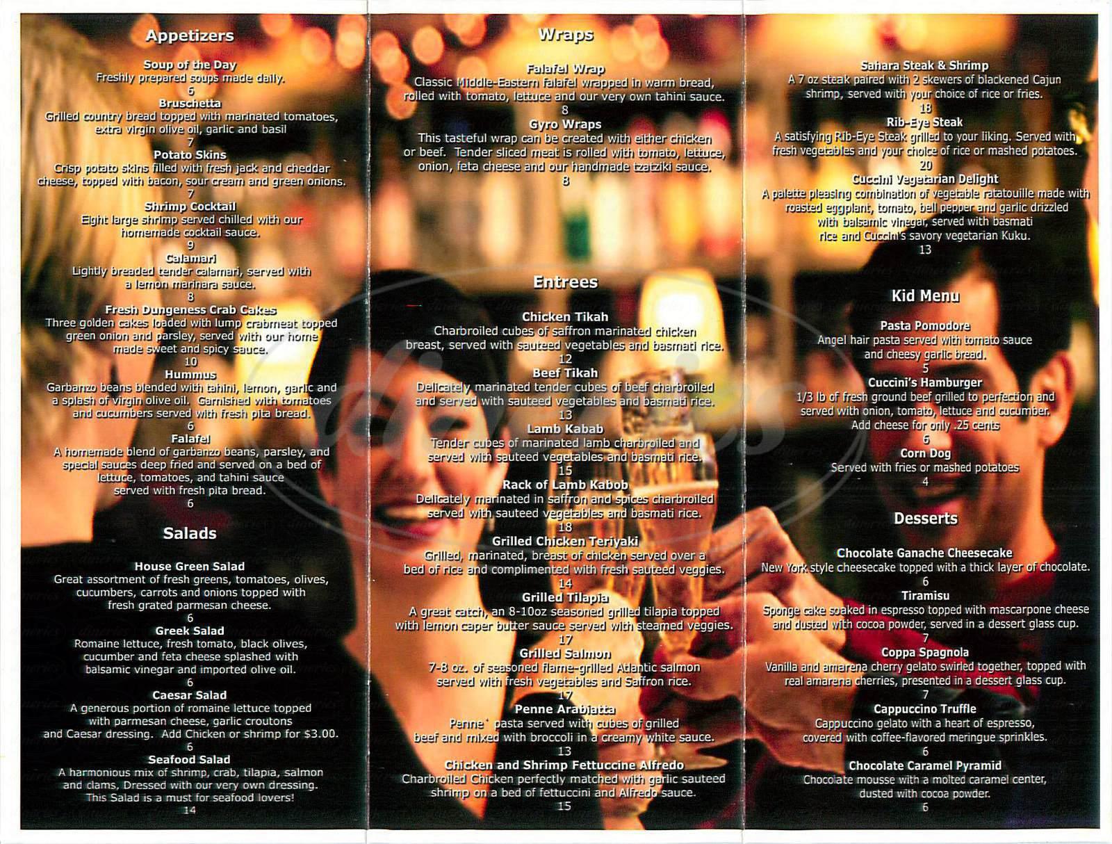 menu for Cuccini