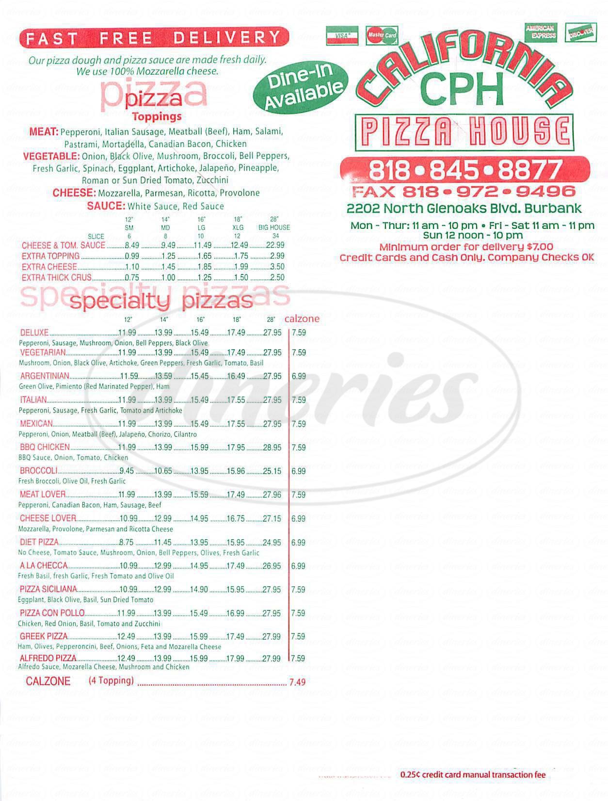 menu for California Pizza House