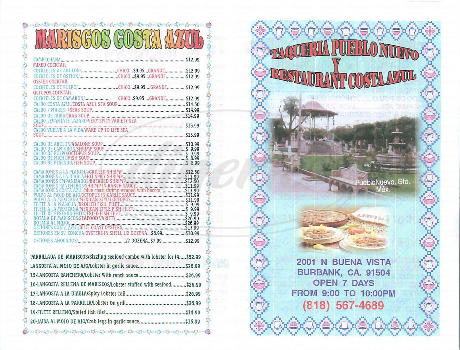 menu for Costa Azul