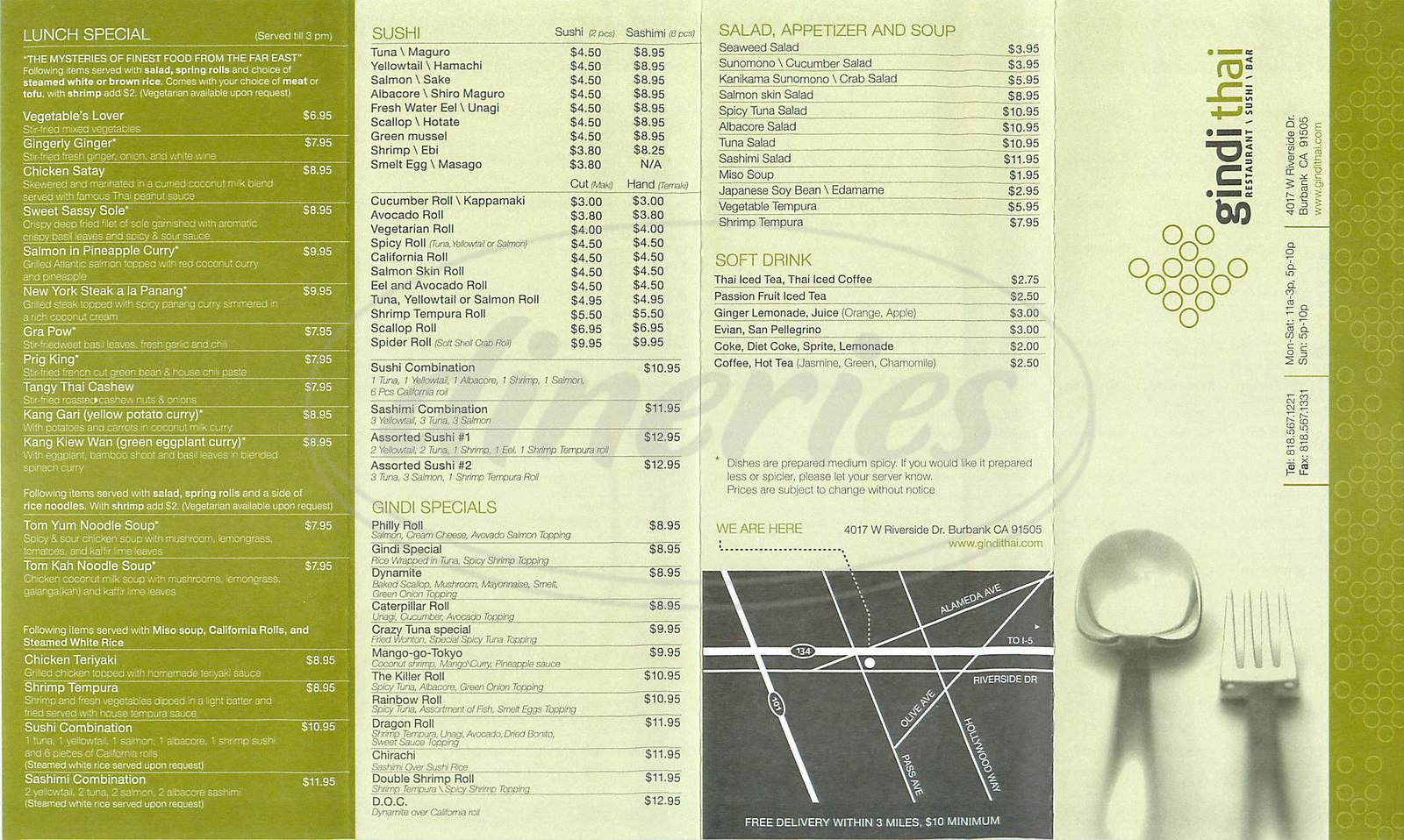 menu for Gindi Thai