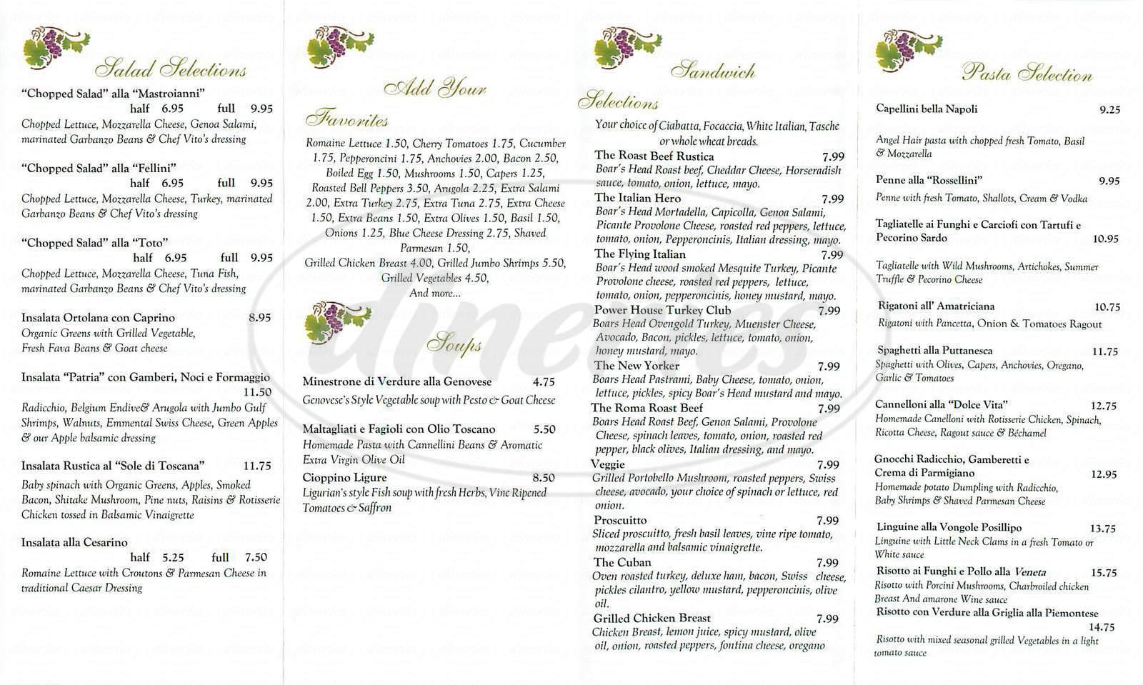 menu for Bacco Trattoria