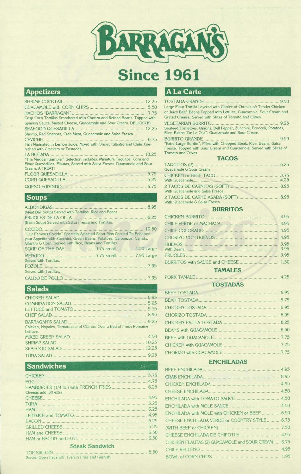 menu for Barragans Mexican Restaurant