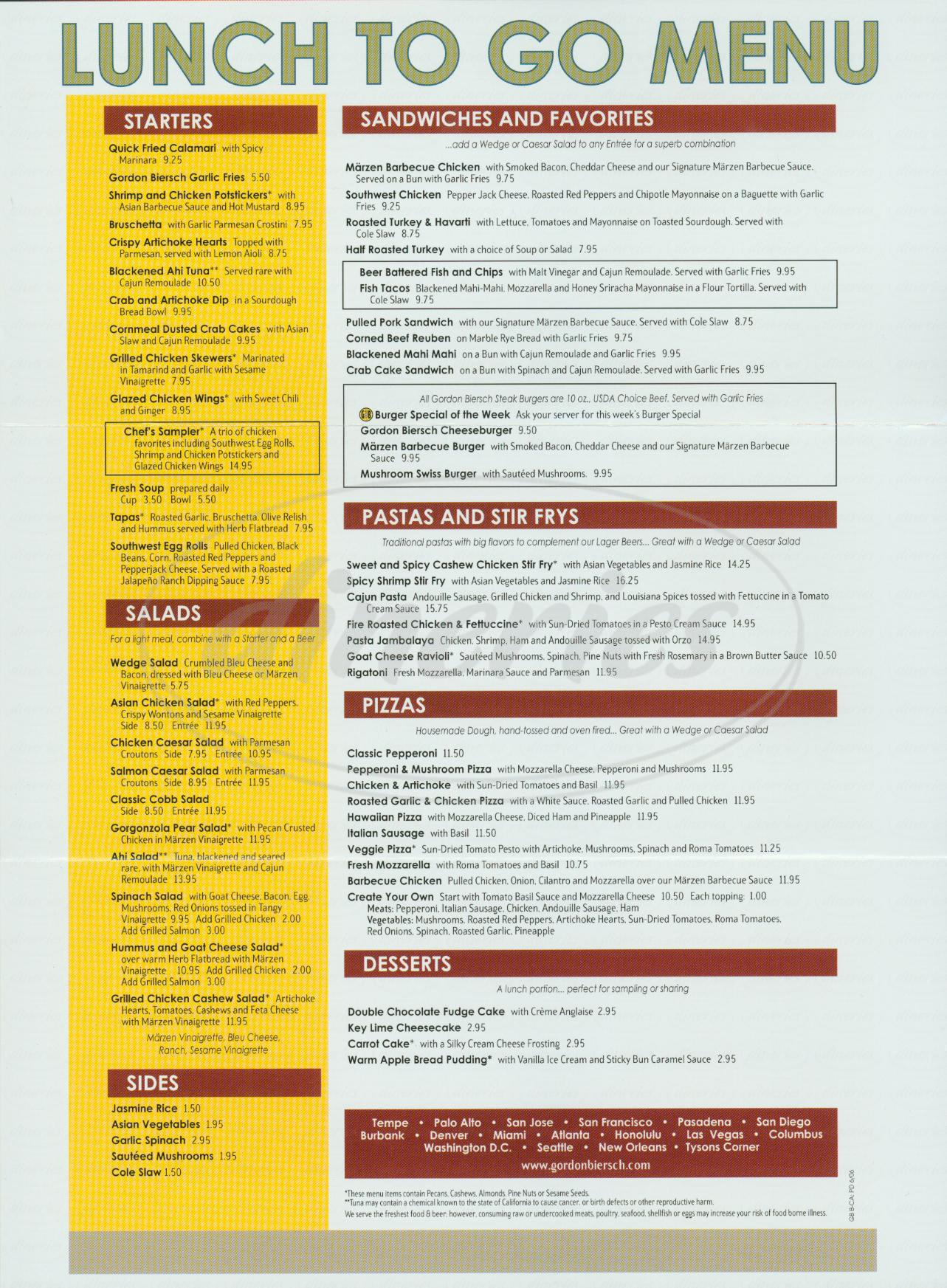menu for Gordon Biersch Brewery