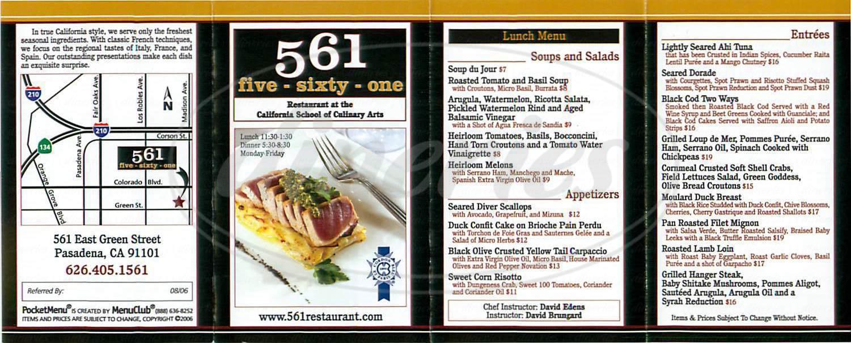 menu for 561 Restaurant