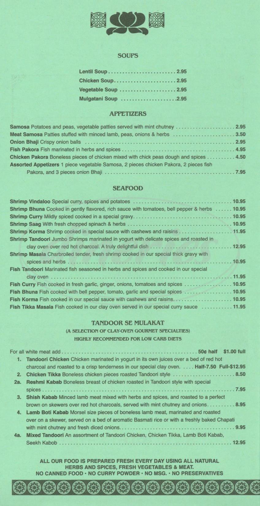 menu for Indias Tandoori