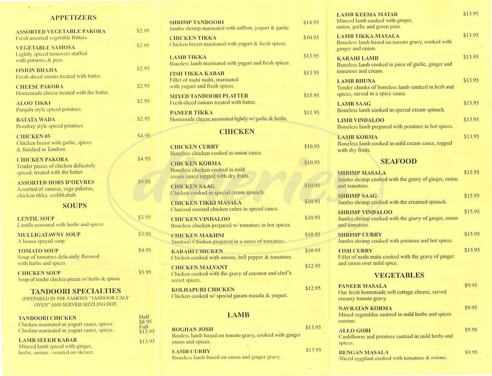 menu for Tandoor Cuisine of India
