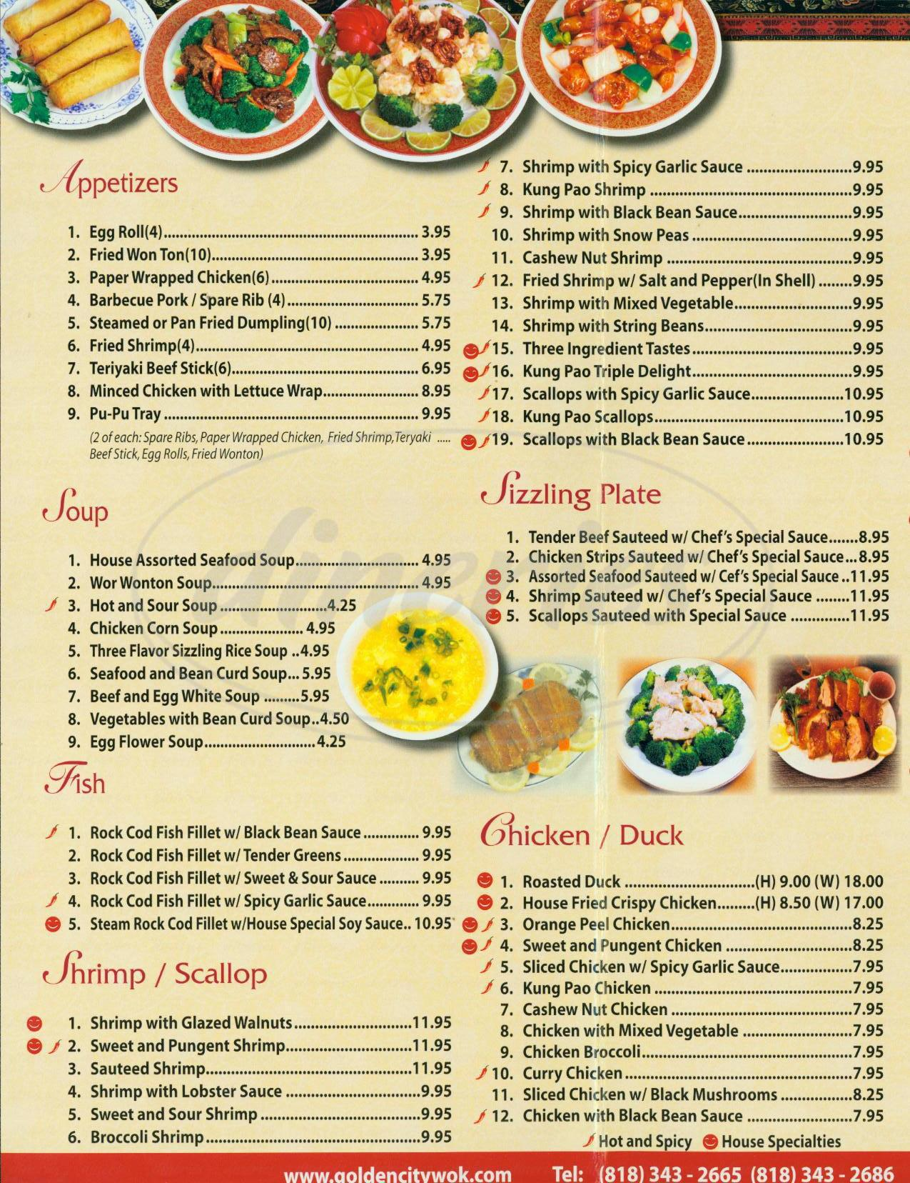 menu for Golden City