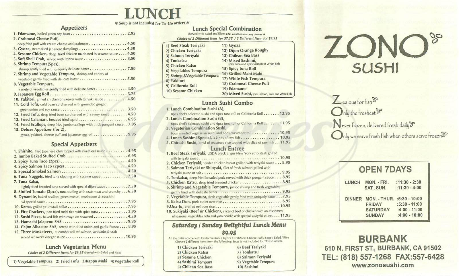menu for Zono Sushi