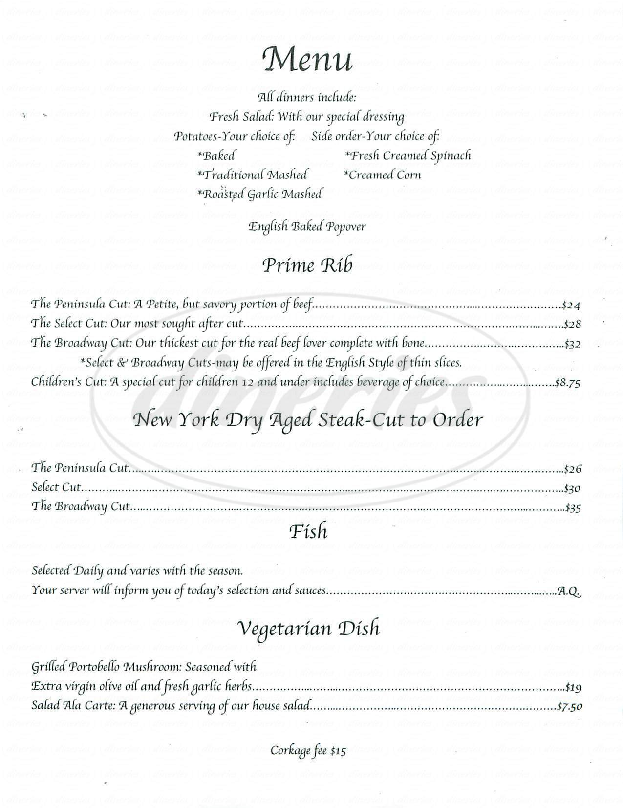 menu for Broadway Prime