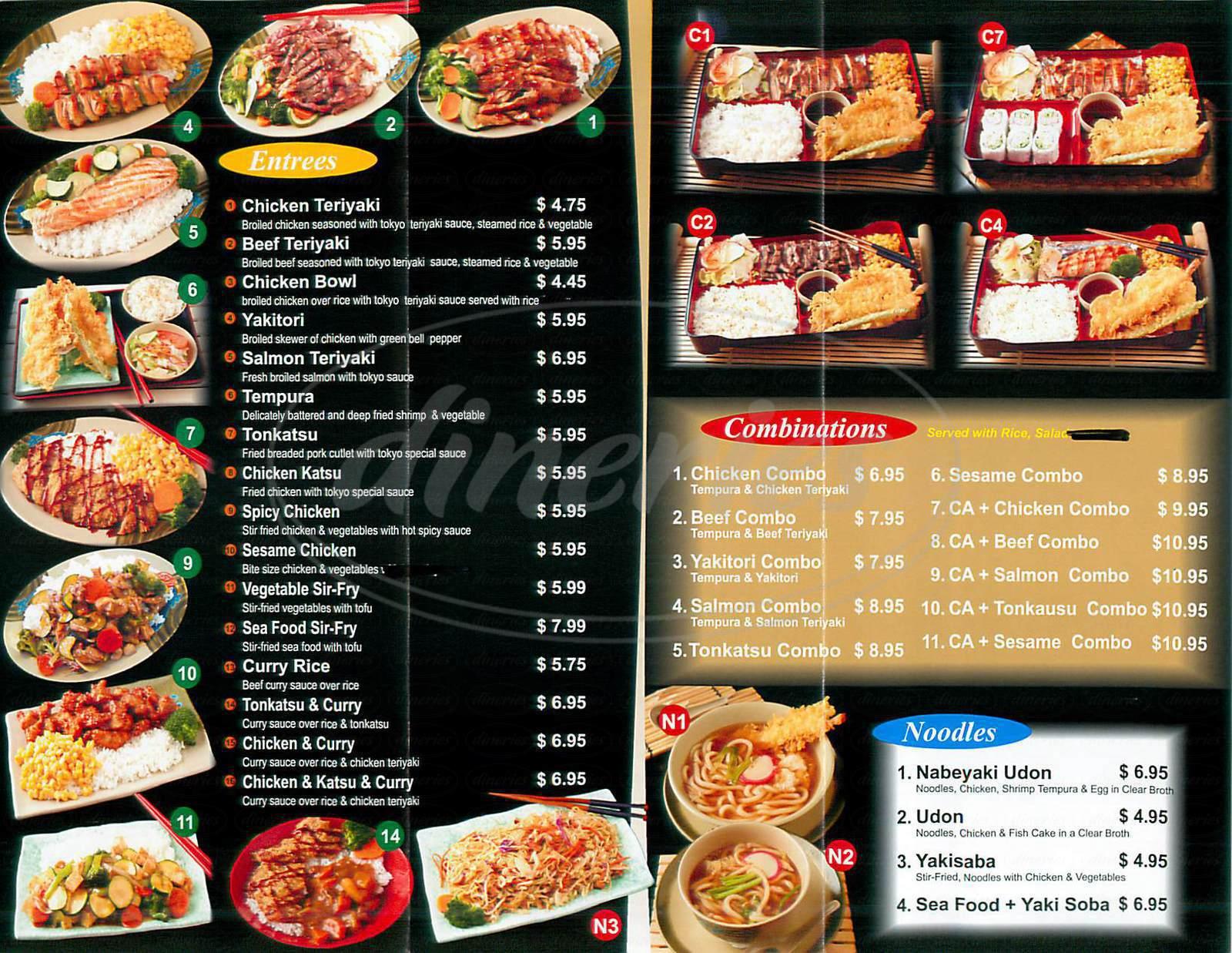 menu for Tokyo Yakitory