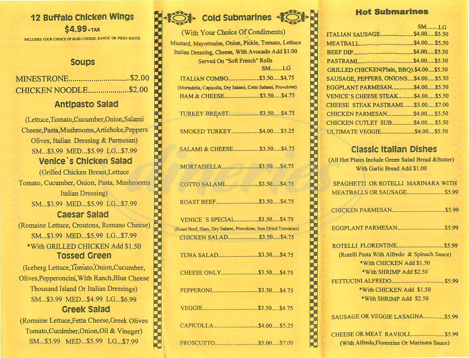menu for Venice Deli