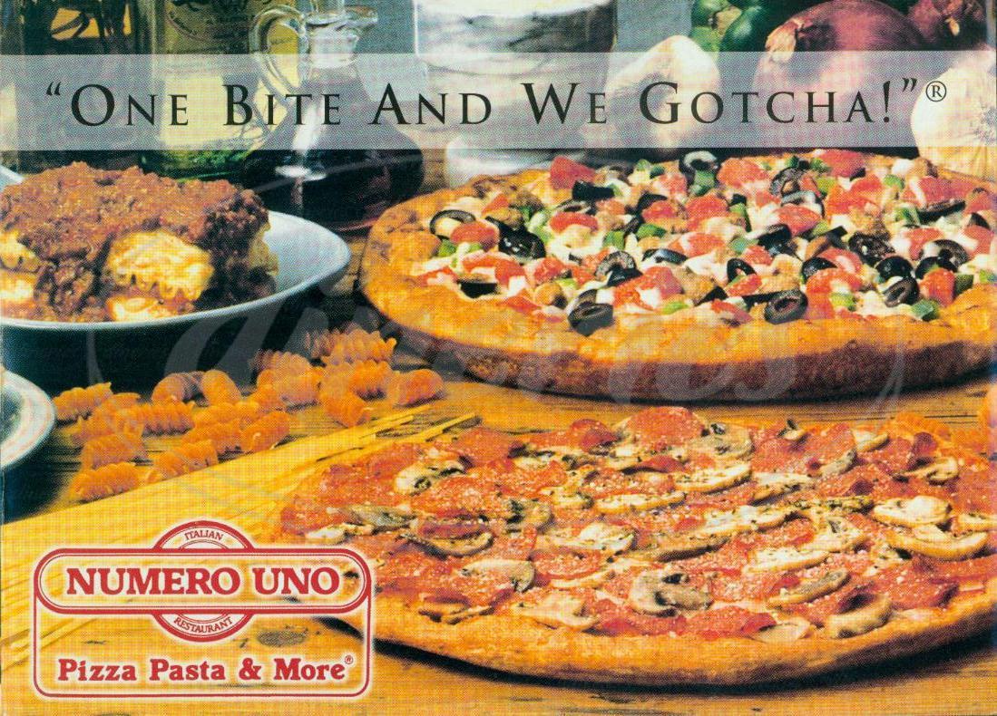menu for Numero Uno Pizza