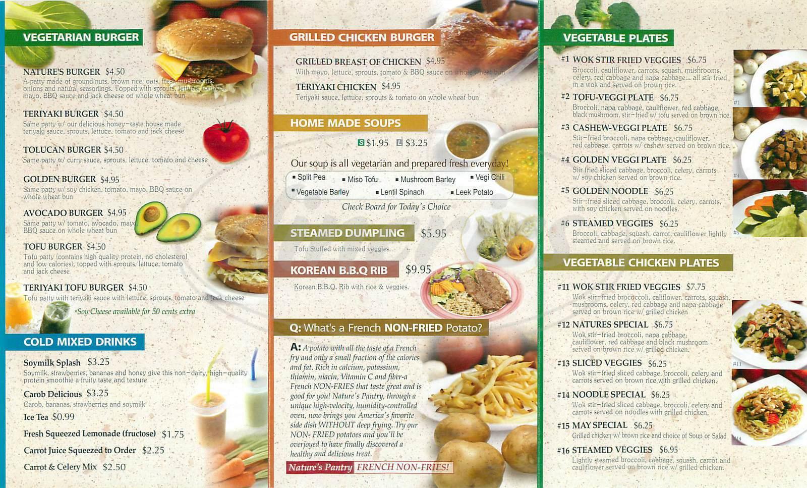 menu for Natures Pantry