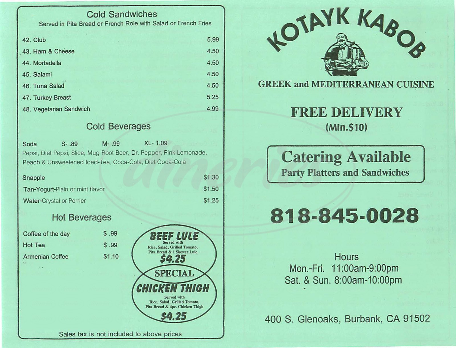 menu for Kotayk Kabob Deli