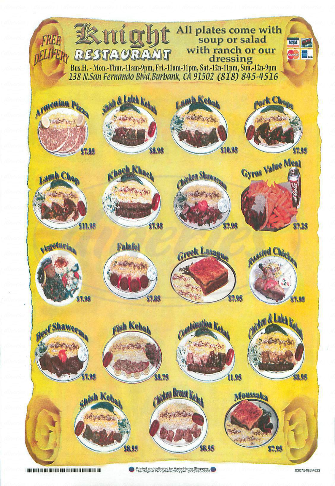 menu for Knight Restaurant