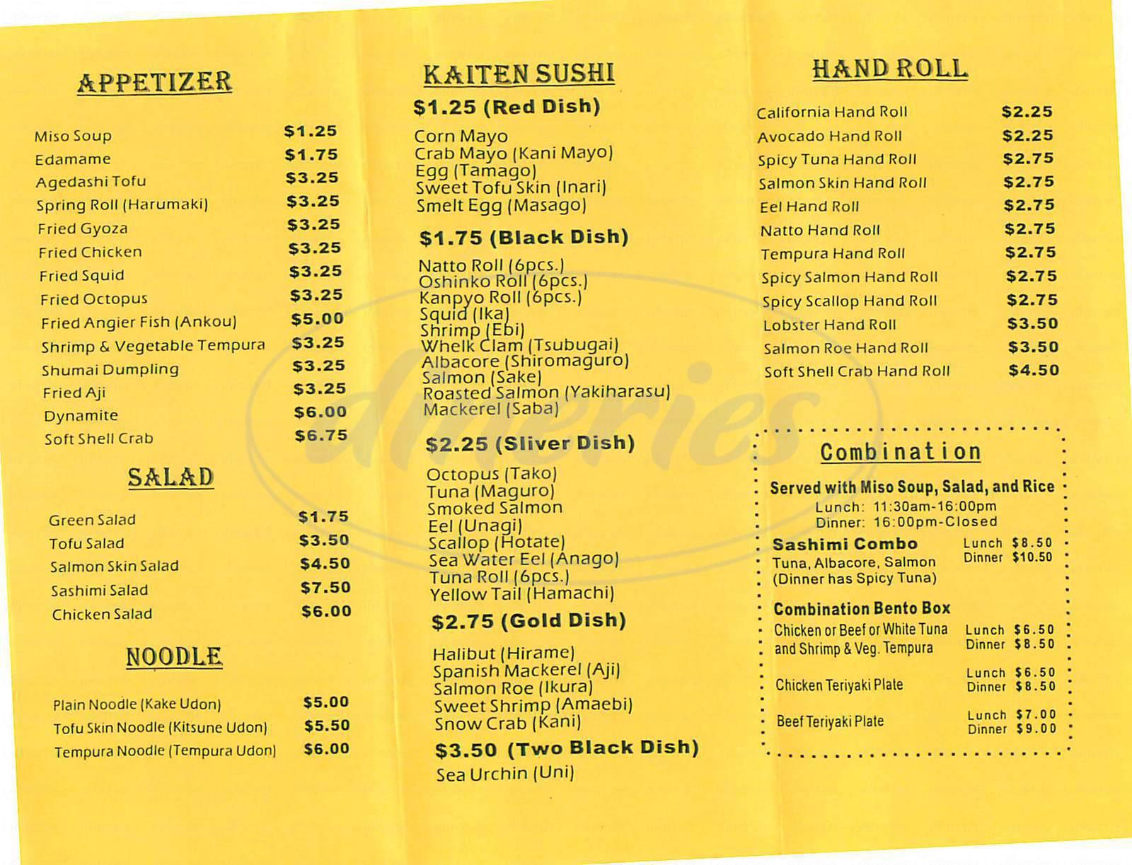 menu for Kaisen Sushi