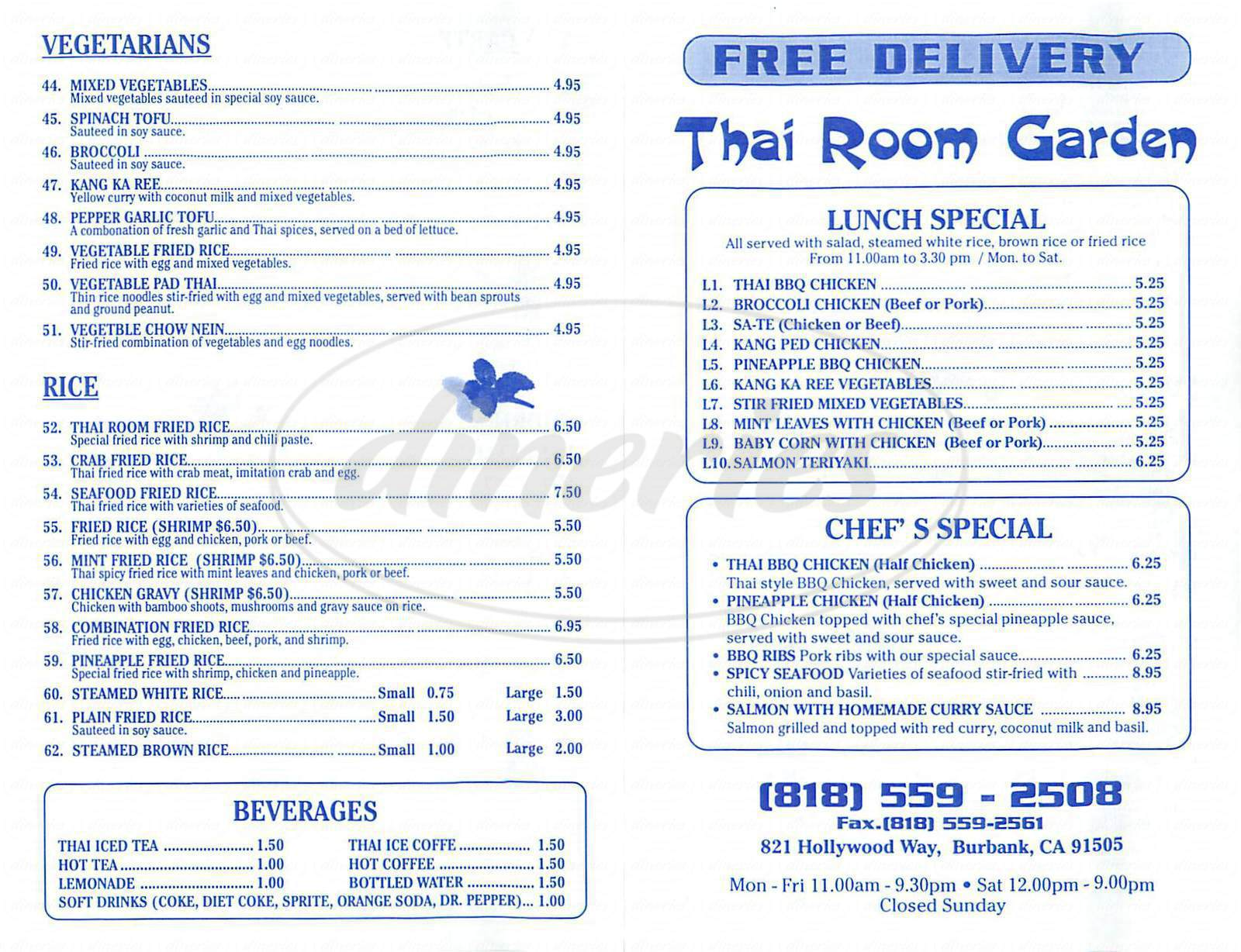 menu for Thai Room Garden
