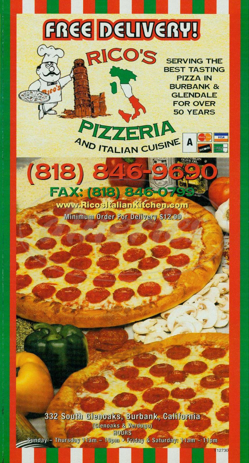 menu for Ricos Pizzeria