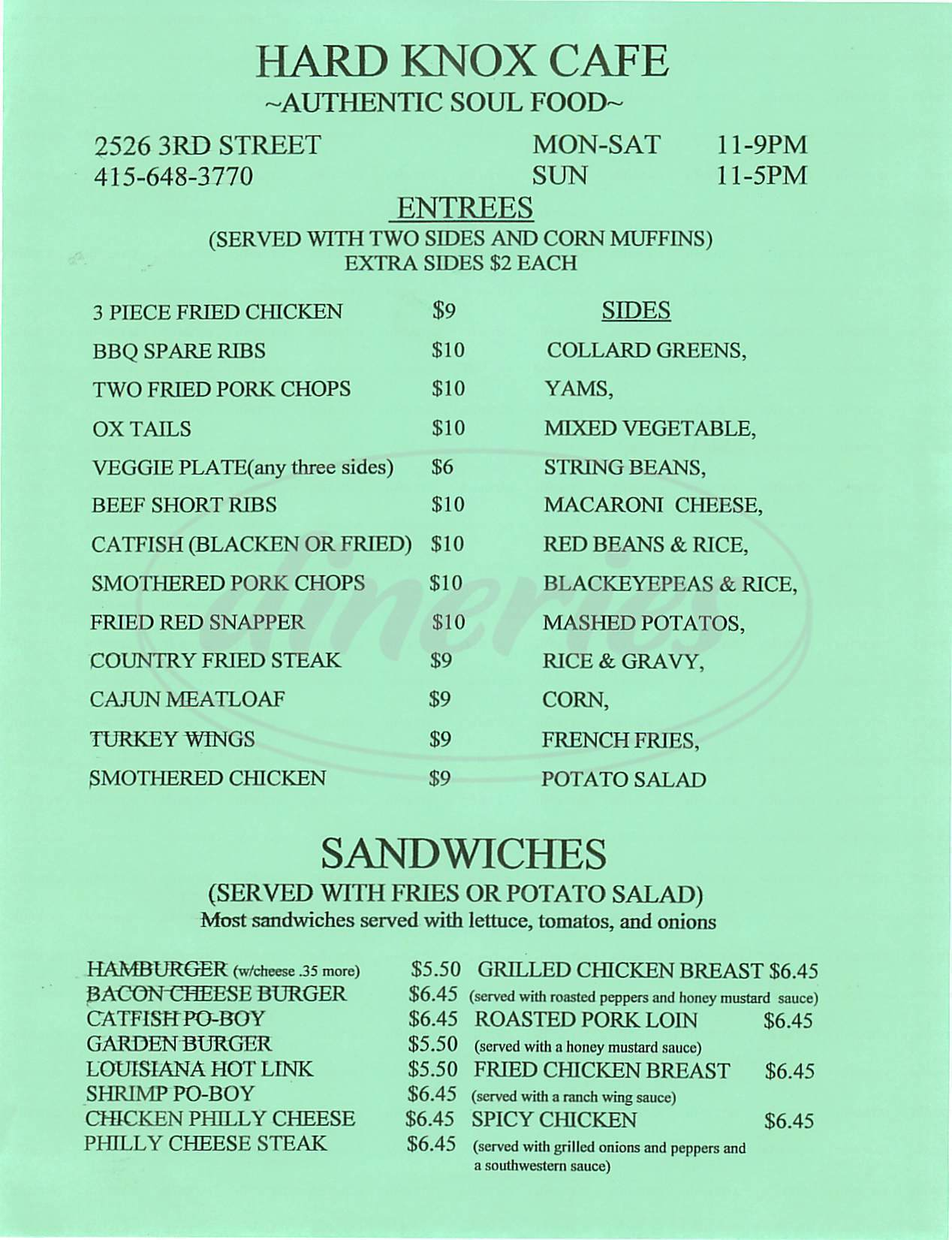 menu for Hard Knox Cafe