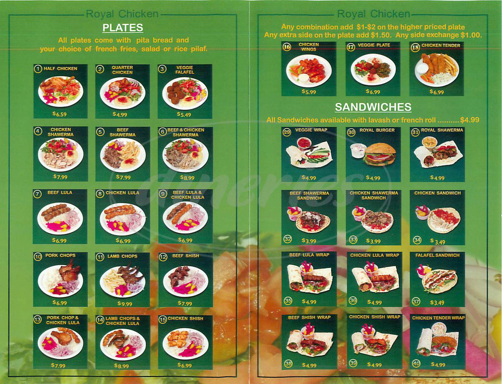 menu for Royal Chicken