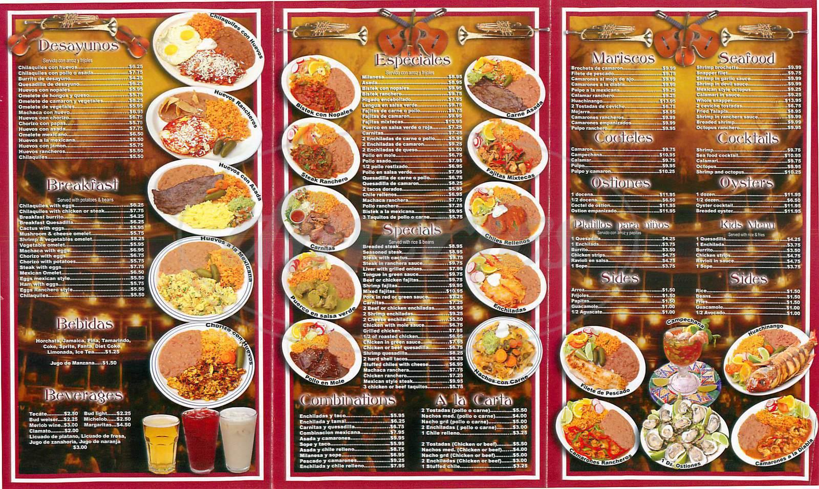 menu for Maria Isabel Restaurant