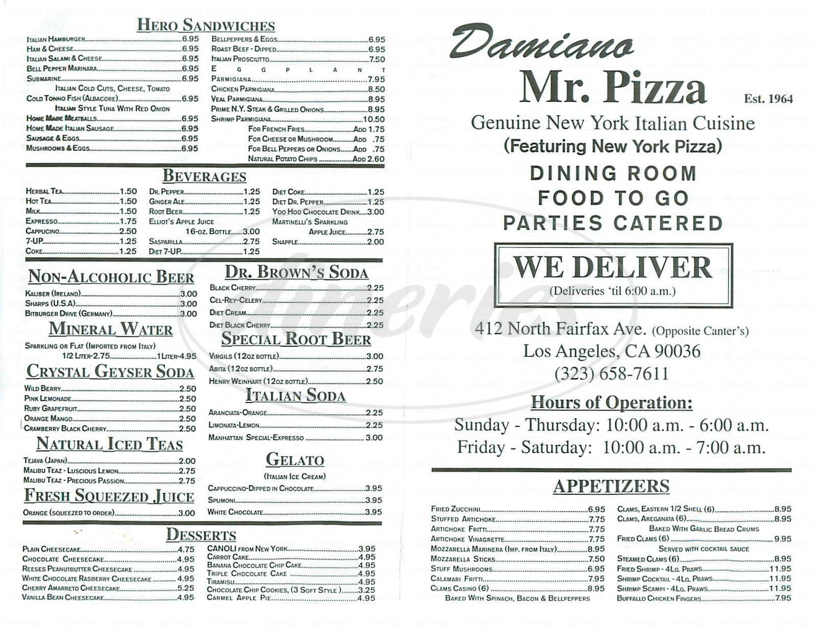 menu for Damiano Mr Pizza
