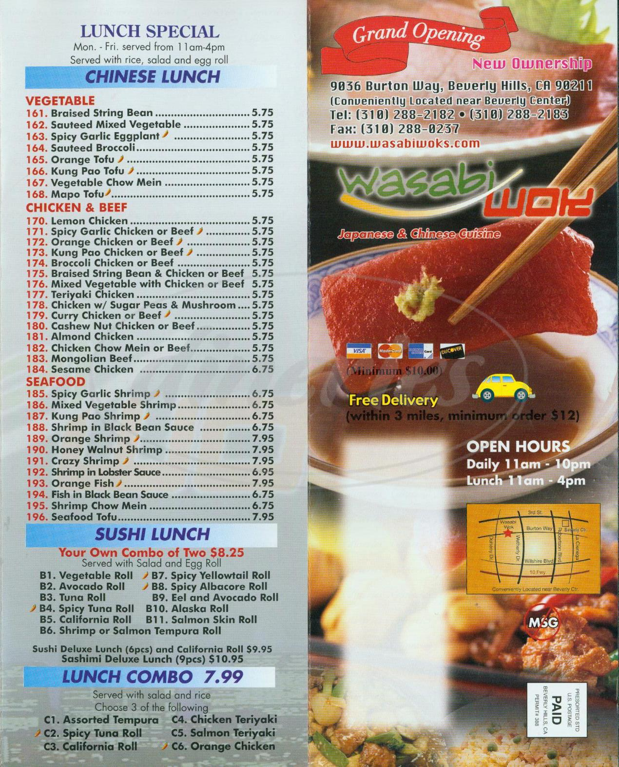 menu for Wasabi Wok