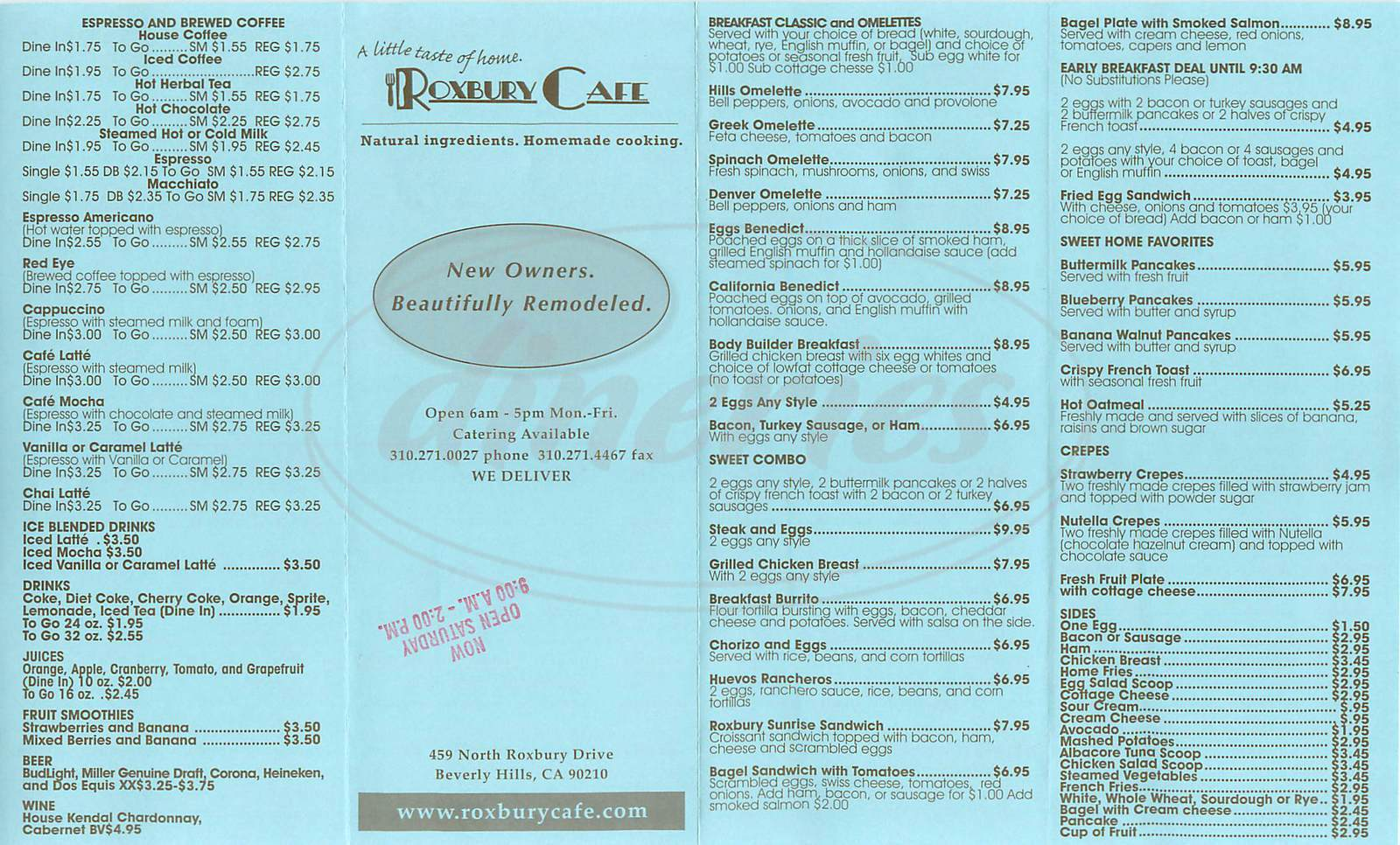 menu for Roxbury Café