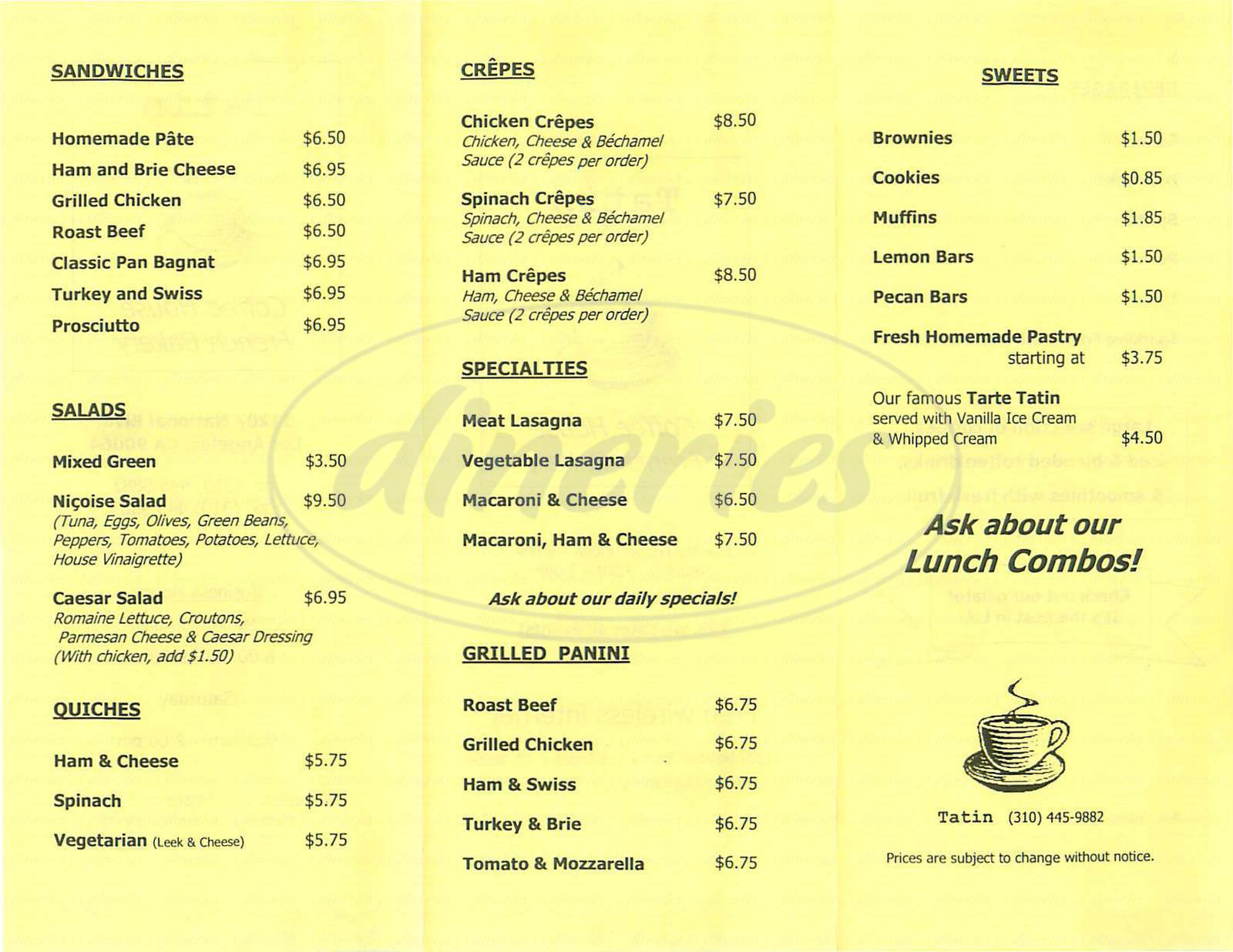 menu for Tatin Coffee House