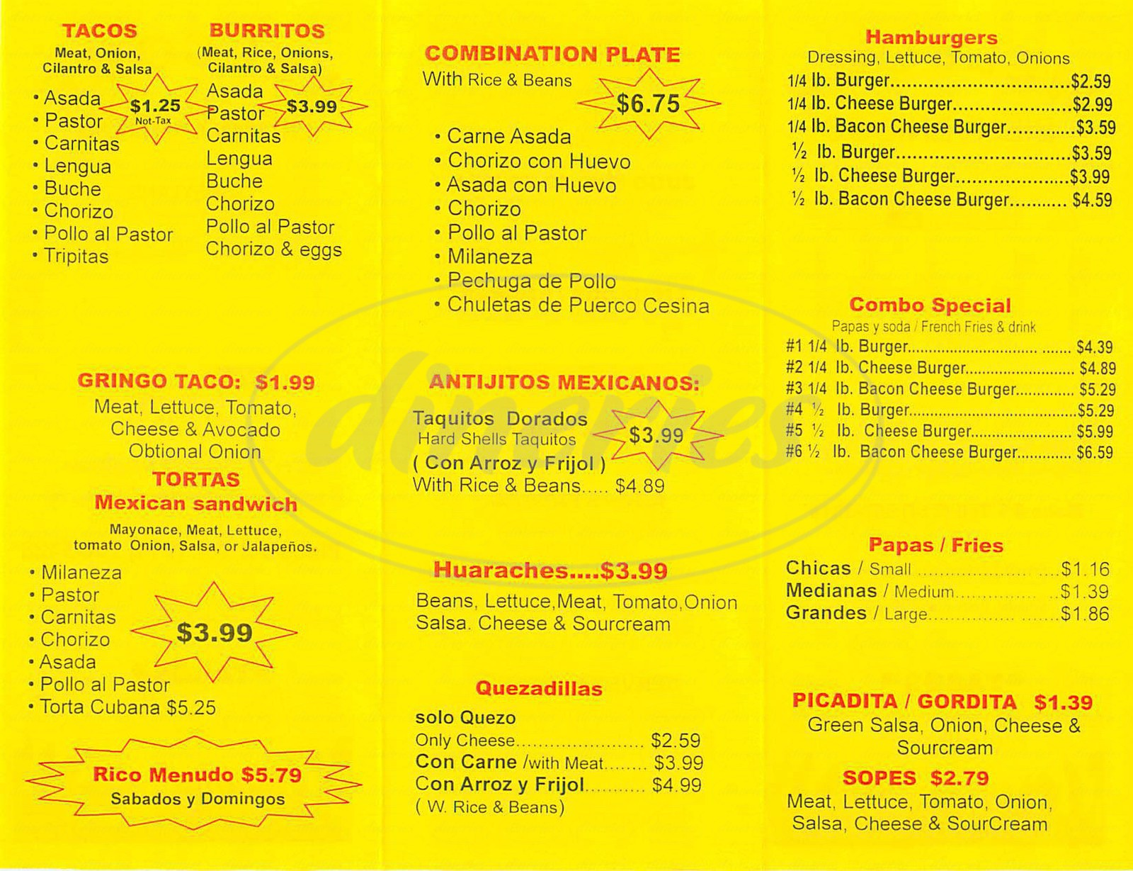 menu for Tacos Tijuana
