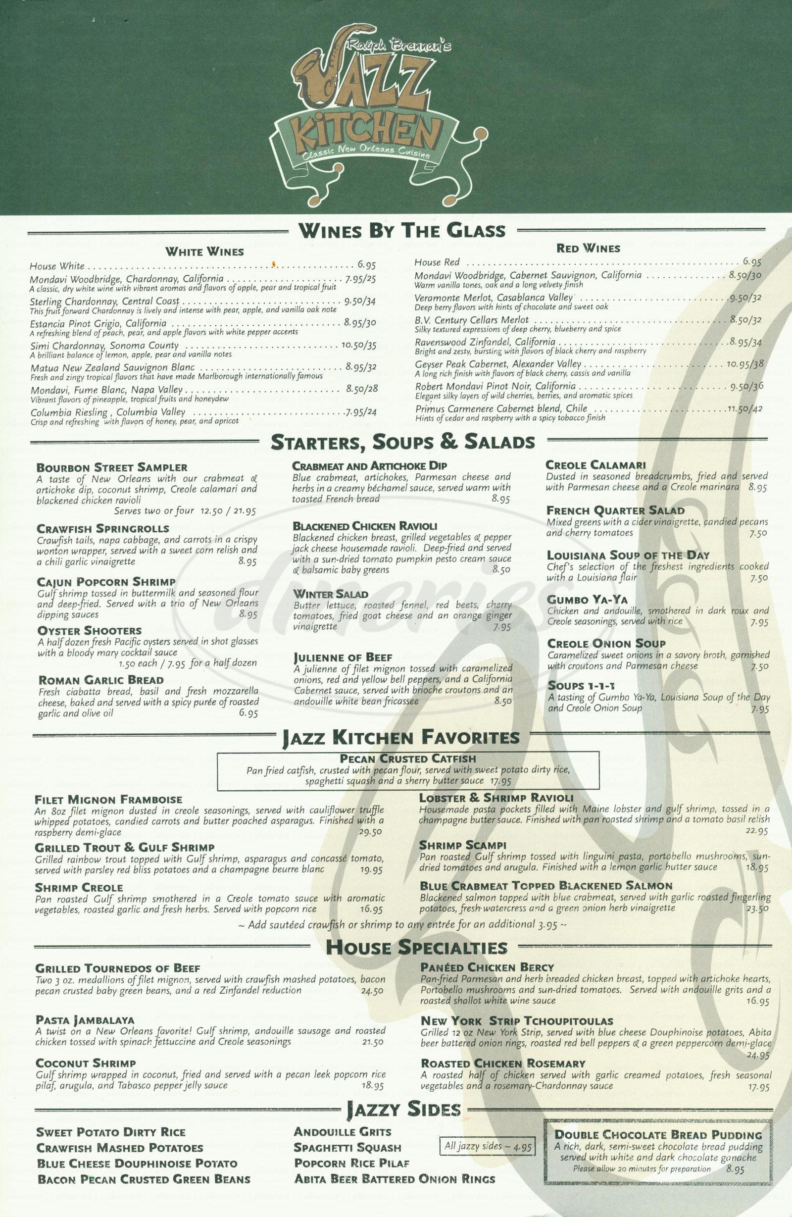 Ralph Brennans Jazz Kitchen Menu - Anaheim - Dineries