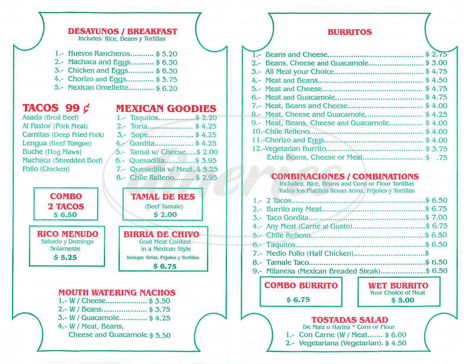 menu for Taqueria Mexico