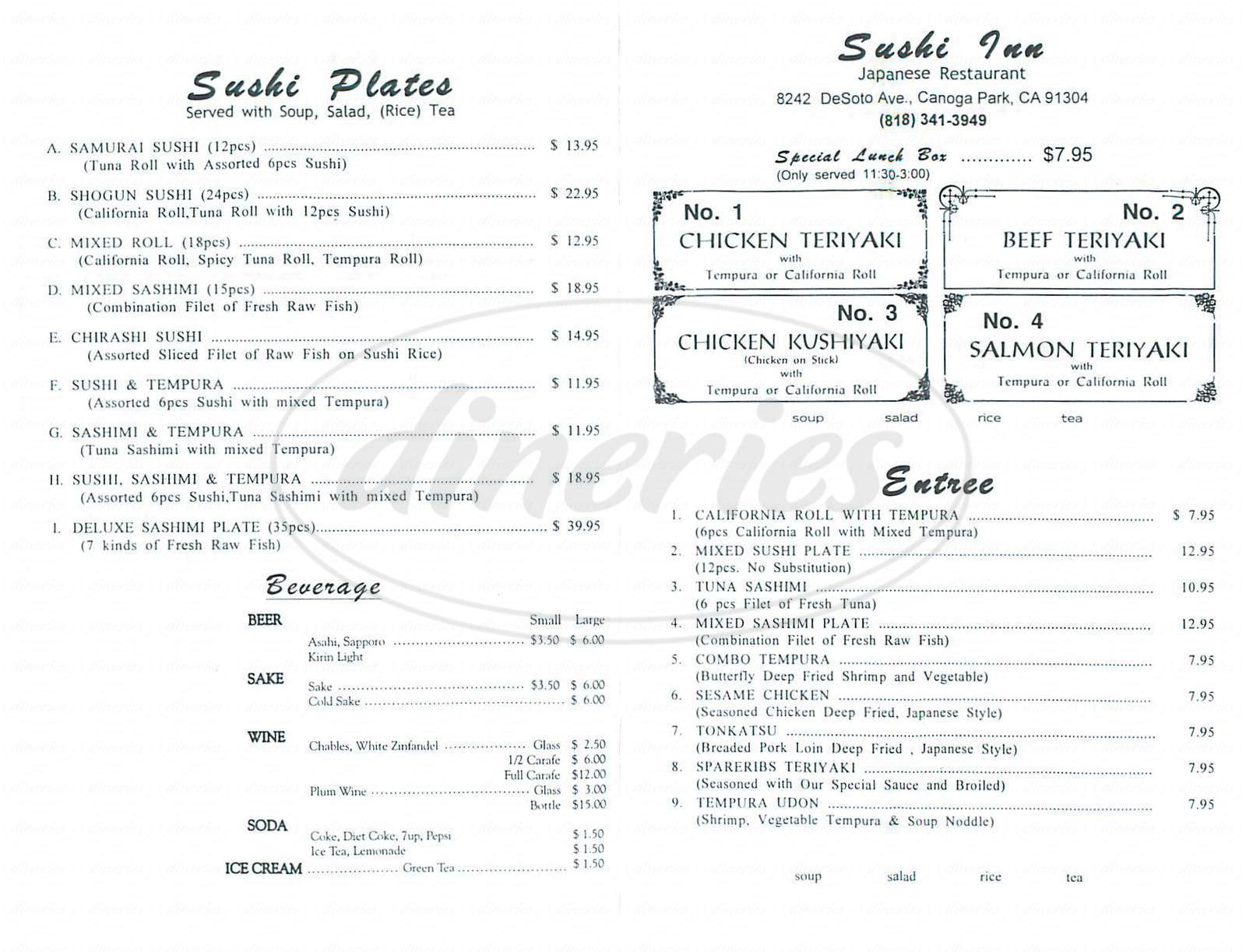 menu for Sushi Inn