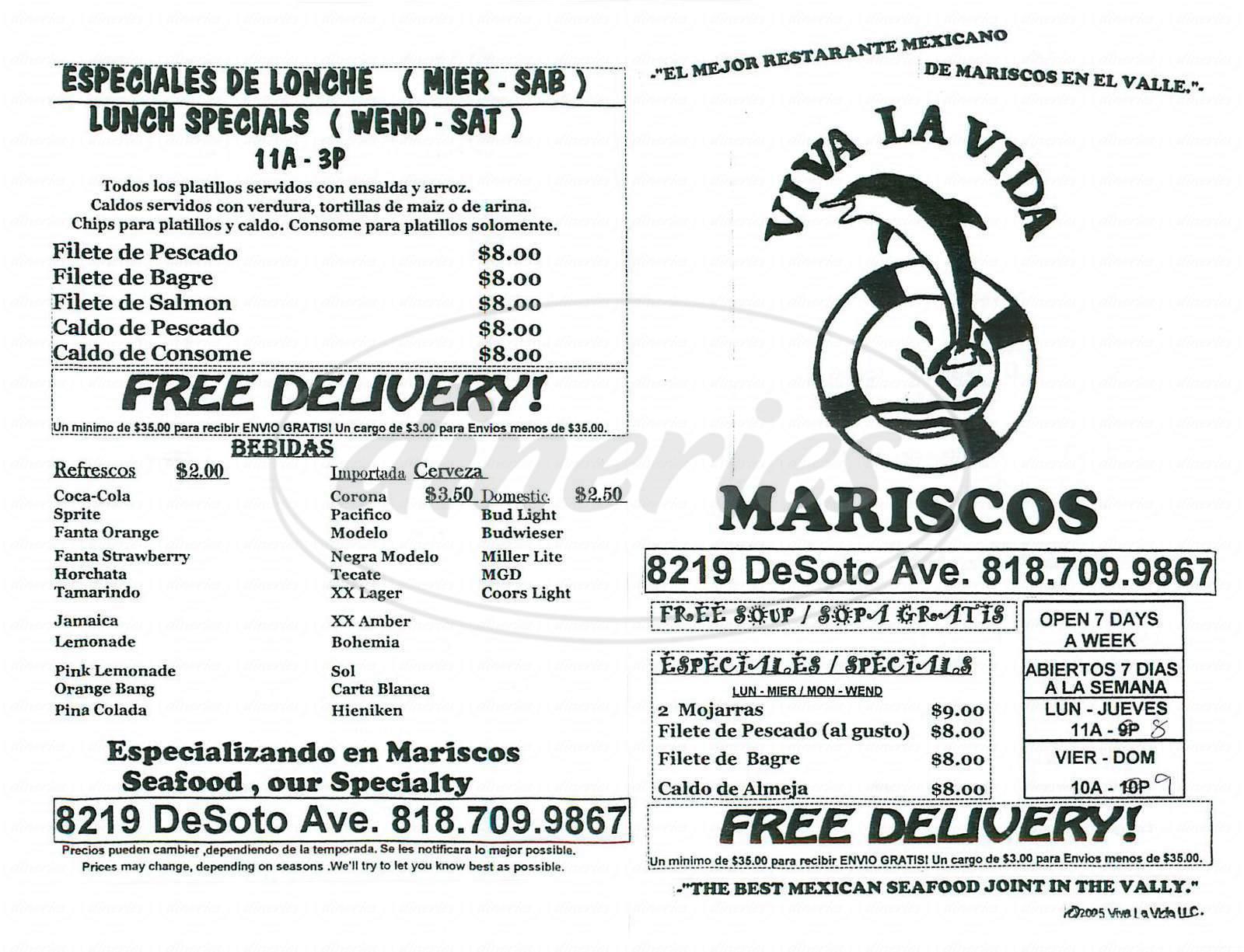 menu for Viva la Vida Mariscos