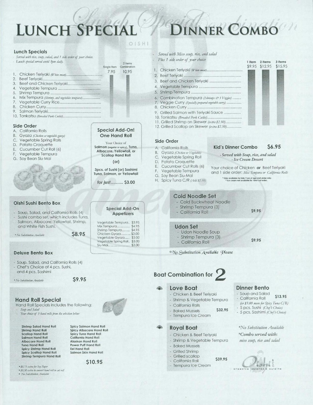 menu for Oishi